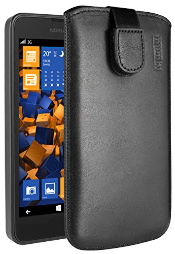 mumbi Echt Ledertasche kompatibel mit Nokia Lumia 630/635 Hülle Leder Tasche Hülle Wallet, schwarz