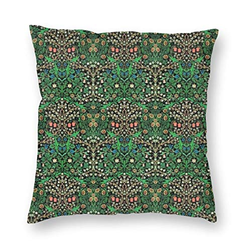 William Morris Jacobean Floral Black Background Velvet Soft Decorative Square Throw Pillow Case Cushion Cover Pillowcase for Livingroom Sofa Bedroom with Invisible Zipper 20x20 Inches