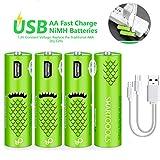 Wiederaufladbare AA-Batterien, 1000mAh, mit USB-Anschlüssen (4er Pack)
