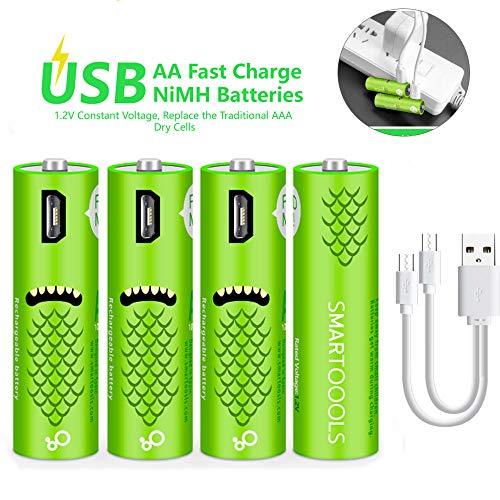 Wiederaufladbare AA-Batterien,wiederaufladbare Elzle-AA-Batterien 1000mAh mit USB-Anschlüssen Hohe Kapazität 1,2 V NiMH Niedriger Selbstentladungs-Akku AA-Aufladung über USB-Kabel (4er Pack)