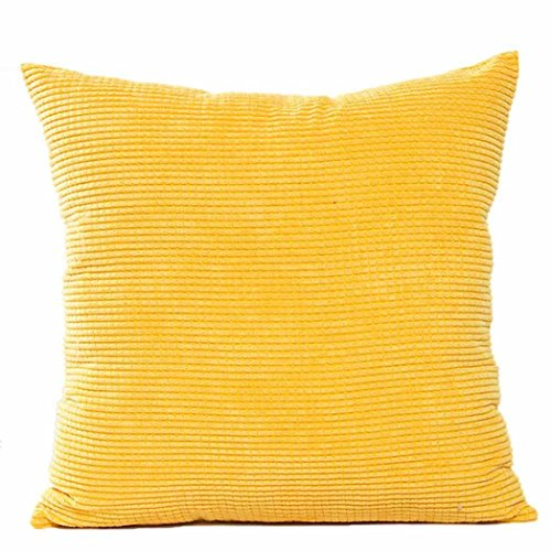 Kavitoz Dekorative Kissenbezug Weiche Plüsch Sofa Bett Stuhl Kissen Fall 45cm*45cm (Gelb)