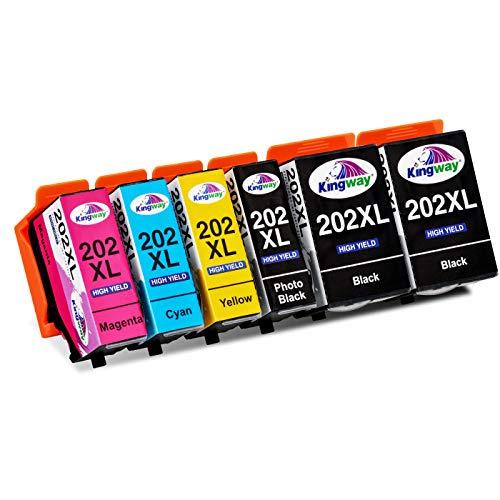 Kingway 202 XL Cartucce per Epson 202XL Black Cartuccia per Epson Expression Premium XP-6000 XP-6005 XP-6100 XP-6105 XP6000 XP6005 XP6100 XP6105 stampanti 6 pezzi:Nero Ciano Magenta Giallo