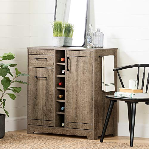 South Shore 12331 Vietti Bar Cabinet and Bottle Storage-Weathered Oak