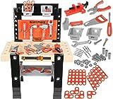 Level25 Banco da lavoro con vari attrezzi e accessori, scatola degli attrezzi per giocattolo, officina fai da te, molto divertente ed educativo