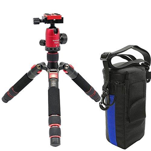 Koolehaoda Viaje portátil H-55 Mini trípode compacto de escritorio macro mini trípode con cabeza de bola para cámara DSLR Canon Nikon (H55+KQ30)