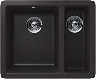 Teka 40143678 Granite Kitchen Sink with a Single and Half Bowl, Carbon