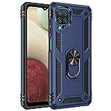 Jierich para Samsung Galaxy A12 Funda,[Soporte] Fashion Design Heavy Duty Híbrida Rugged Armor Protección Resistente Impactos TPU + PC Funda para Samsung Galaxy A12-Azul