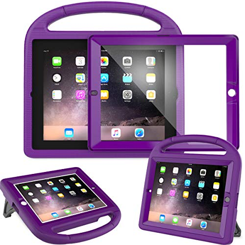 AVAWO Kids Case Built-in Screen Protector for iPad 2 3 4 (Old Model)- Shockproof Handle Stand Kids Friendly Compatible with iPad 2nd 3rd 4th Generation (Purple)