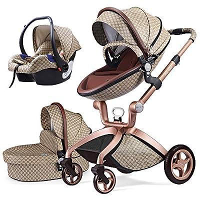 Cochecito de Bebe Hot Mom Cochecito y Sillas de paseo 3 en 1 con silla y el capazo, 2020 estilo de vida F22 (Grid-3-Grid)