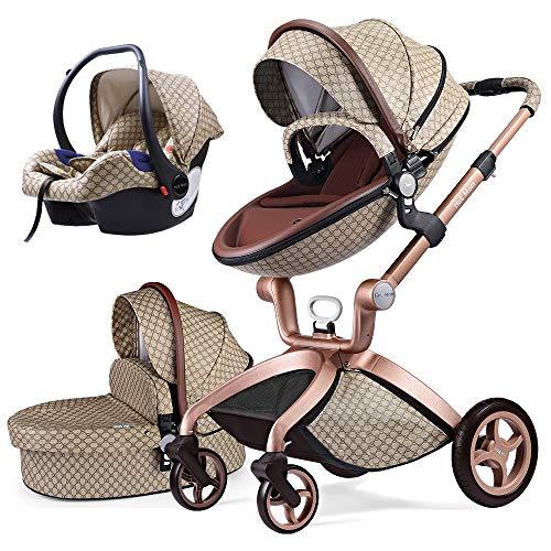 Cochecito de Bebe Hot Mom Cochecito y Sillas de paseo 3 en 1 sistema de viaje con silla y el capazo Asiento de coche, 2020 estilo de vida F22 asiento de carro extra comprable - edición especial