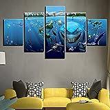 FFFZDCKAY Sin Marco Decorativo Lienzo Arte impresión Pintura película de Dibujos Animados Acuario tiburón pez Imagen Azul para la decoración de la Pared de la Sala de Estar