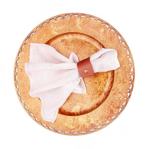 DiFound 12 Pieces Pack, Plate Chargers with Cloth Napkins and Leather Napkin Rings Included, Use as Chargers for Dinner Plates, Round Table Chargers, 13 inches…