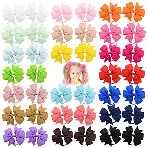 40 fiocchi per capelli per bambine da 3,5 cm, elastici per capelli, per capelli e coda di cavallo, accessori per bambini