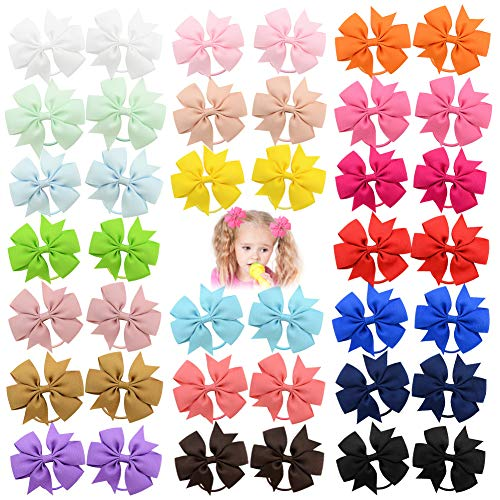 40 piezas 3.5 pulgadas bebé niñas lazos para el cabello cintas para el cabello diadema elástica titular de cola de caballo banda para el cabello accesorios para el cabello para niños pequeños