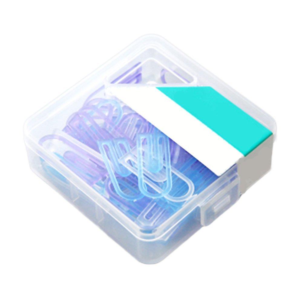 60 x oyfel Clips Fantasía de papel (plástico ABS con caja de almacenaje para documentos, carpetas 11 * 28 mm, color Bleu+Violet 11 * 28MM: Amazon.es: Oficina y papelería