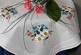 Kamaca Stickpackung ALPENBLUMEN Stielstich Plattstich Knötchenstich vorgezeichnet aus 100% Baumwolle Mitteldecke 80 x 80 zum Selbersticken