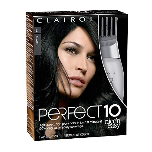of home hair colours dec 2021 theres one clear winner Clairol Nice'n Easy Perfect 10 Permanent Hair Dye, 2 Black Hair Color, 1 Count