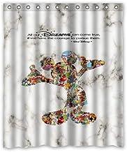 zhanghui2018 Best Walt Disney Dream - Citas de mármol duraderas, Accesorios de baño con 12 Ganchos, 180 x 180 cm