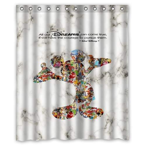 Shuli888 Best Walt Disney Dream Zitate Marmor Durable Stoff Schimmel Bad Zubehör Kreativ mit 12 Haken 180 x 180 cm