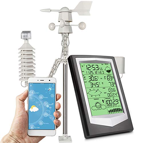 Umitive Stazione Meteo WiFi con App, Stazione Meterologica con 10 in 1 Sensore Esterno Misurare Temperatura umidità Interno Esterno, Vento, Pressione dell\'Aria, Pioggia, Previsione, Allarme