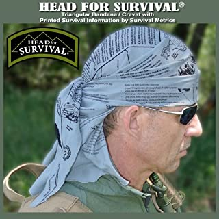 Head for Survival Triangular Bandana / Cravat with Survival Information - TACTICAL
