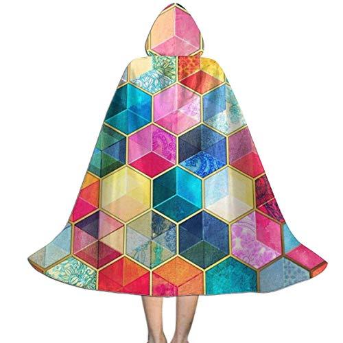 Amanda Walter Capa de Capa con Capucha de Halloween con Forma Hexagonal de Cubos de Panal Bohemio de Cristal para nios