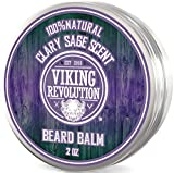 Beard Balm with Clary Sage Scent and Argan & Jojoba Oils - Styles, Strengthens & Softens Beards & Mustaches - Leave in Conditioner Wax for Men by Viking Revolution