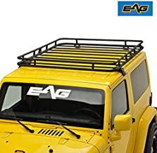 EAG 2/4 Door Roof Rack Cargo Basket with Wind Deflector 2 PCS Fits for 07-18 Jeep Wrangler JK