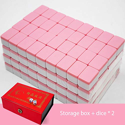 Hao-zhuokun 麻将 Mini Mahjong Chinese Traditional Game Gathering Party Game 22mm,Rosa,Azul,Verde,Marfil