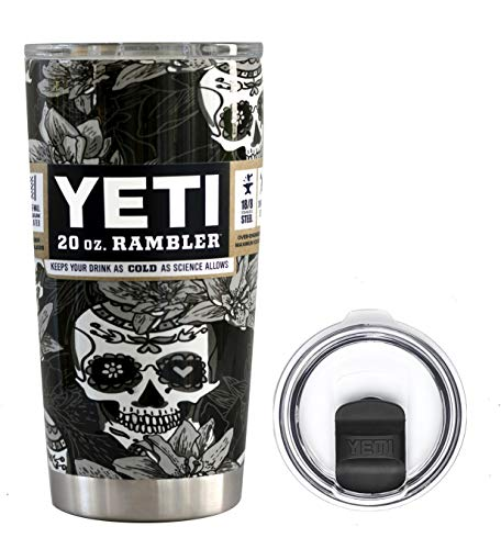 YETI Coolers 20 Ounce (20oz) (20 oz) Custom Powder Coated or Hydro Dipped Rambler Tumbler Travel Cup Mug Bundle with New Magslider Spill Proof Lid (Dipped Black & White Sugar Skull)