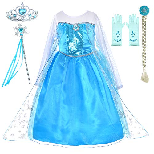 Princess Dress Up Costumes for Little Girls Birthday Party with Wig,Crown,Mace,Gloves Accessories 3T-4T