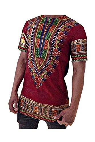 Camiseta De Hombre Tribal Africana Dashiki Floral Hipster Hip Hop Tops Rojo M