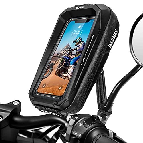 "LUROON Soporte Movil Moto Impermeable 360°Rotación Anti Vibración Soporte Moto Aluminio Soporte Motocicleta Soporte Telefono Motocicleta Retrovisor para 3.5-6.7"" Móvil"