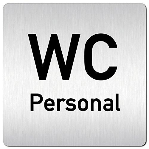 XXL WC Personal Toiletten Schild • 125 x 125mm • Türschild - Hinweisschild aus 1,5mm starkem Aluminium mit veredelter Oberfläche • kontrastreicherer Look als bei herkömmlichen Edelstahlschildern