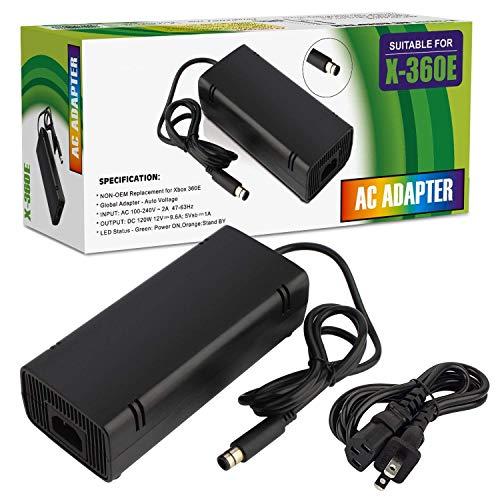 Xbox 360 E Power Supply, Compatible with Xbox 360E Power Adapter, Power Supply Cord AC Adapter Replacement Charger for Xbox 360 E, 100-240V Auto Voltage (Black)