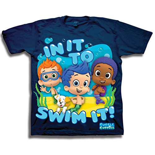 Nickelodeon Boys' Bubble Guppies in It To Swim It Short Sleeve T-Shirt,Navy,2T