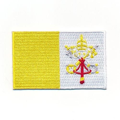 60 x 35 mm Rom Vatikanstadt Vatikan Papst Kirche Flagge Flag Aufnäher Aufbügler 0976 B