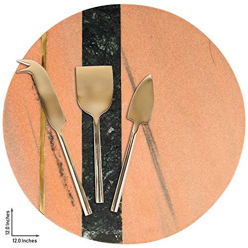 GAURI KOHLI Roze Marmer & Messing Kaas Board/Charcuterie Platter; met Set van 3 Messing Kaas Messen (Grote Maat 12