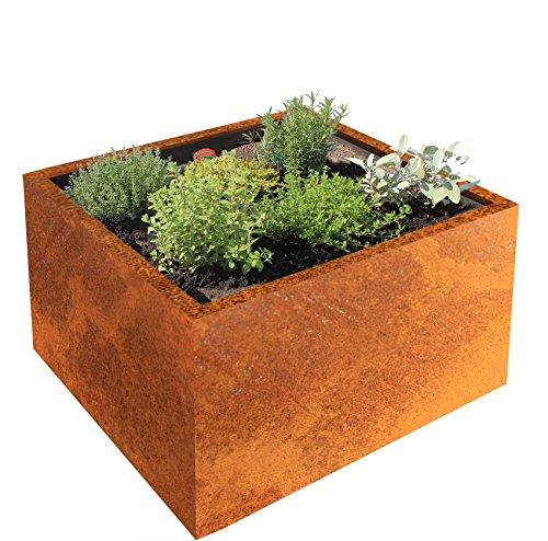 Palatino Exclusive Line Hochbeet/Pflanzkübel Clara aus Corten-Stahl 60 x 60, Tiefe 50 cm, Modular