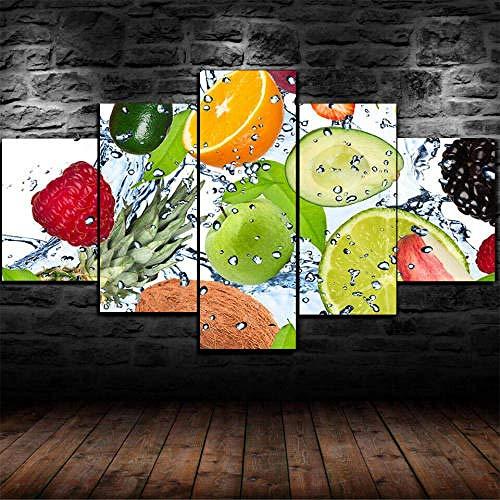 DEZYSDPLXD Advanced Canvas Art Print WanddekorationCanvas Print, Wandkunst Canvas Bilder5Fresh Fruit Kitchen Restaurant Leinwandbilder auf gestreckten HD Canvas-Bildern