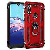 BeyondTop Doble Capa Funda para Motorola Moto E7 Carcasa Dura Antigolpes con Función de Soporte y Cool Look Protector Case Fundas para Motorola Moto E7-Rojo