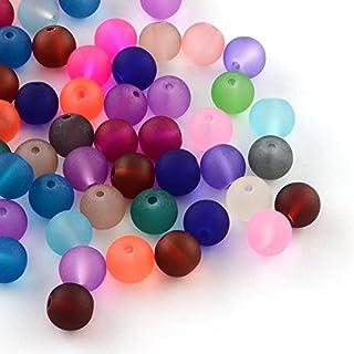 R270 Lot de 50 perles de verre givrées rondes 10 mm