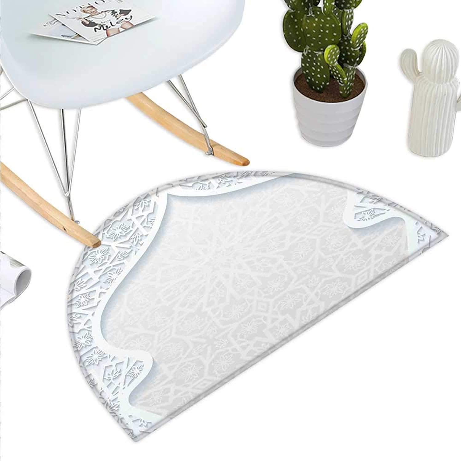 Pale bluee Semicircle Doormat Arabesque Style Arched Royal Persian Figure with Floral Cultural Graphic Design Halfmoon doormats H 39.3  xD 59  Pale bluee