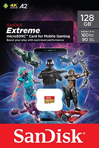 SanDisk Extreme microSD-Karte für mobiles Gaming 128 GB, Unterstützt mit A2 App Performance AAA/3D/VR-Spielgrafiken und 4K-UHD-Video, 160 MB/s Lesen, 90 MB/s Schreiben, Klasse 10, UHS-I, U3, V30