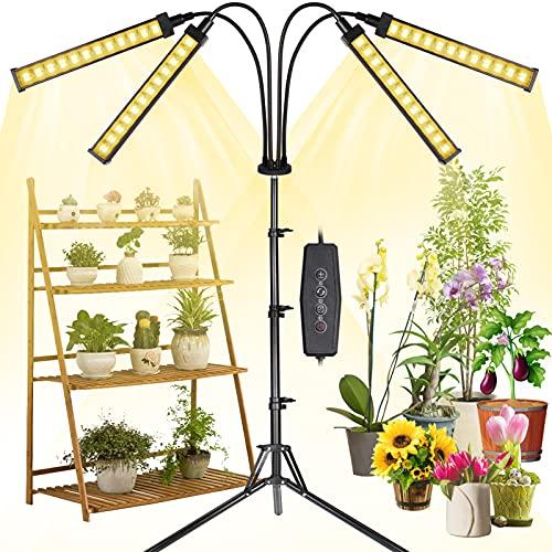 MICCYE Pflanzenlampe LED mit Ständer, 192 LEDs 4 Heads Pflanzenlicht 360°Einstellbar mit Adapter, Zeitschaltuhr 3/6/12H, 4 Modus, Pflanzenleuchte 0-100{a3194b0966b421cf6f30914c357ed7b38abf6fdc97a1eb6cb6aa866e9caba151} Dimmen