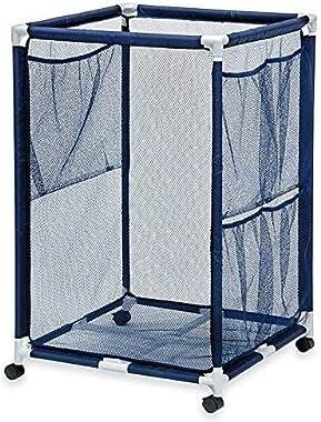 "Essentially Yours Rolling Pool Storage Organizer Bin, Large, 24""x 24""x 42"", Blue Mesh/White PVC"