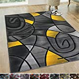 HR-Yellow/Grey/Silver/Black/Abstract Area Rug Modern Contemporary Circles and Wave Design Pattern (7'8' X10')