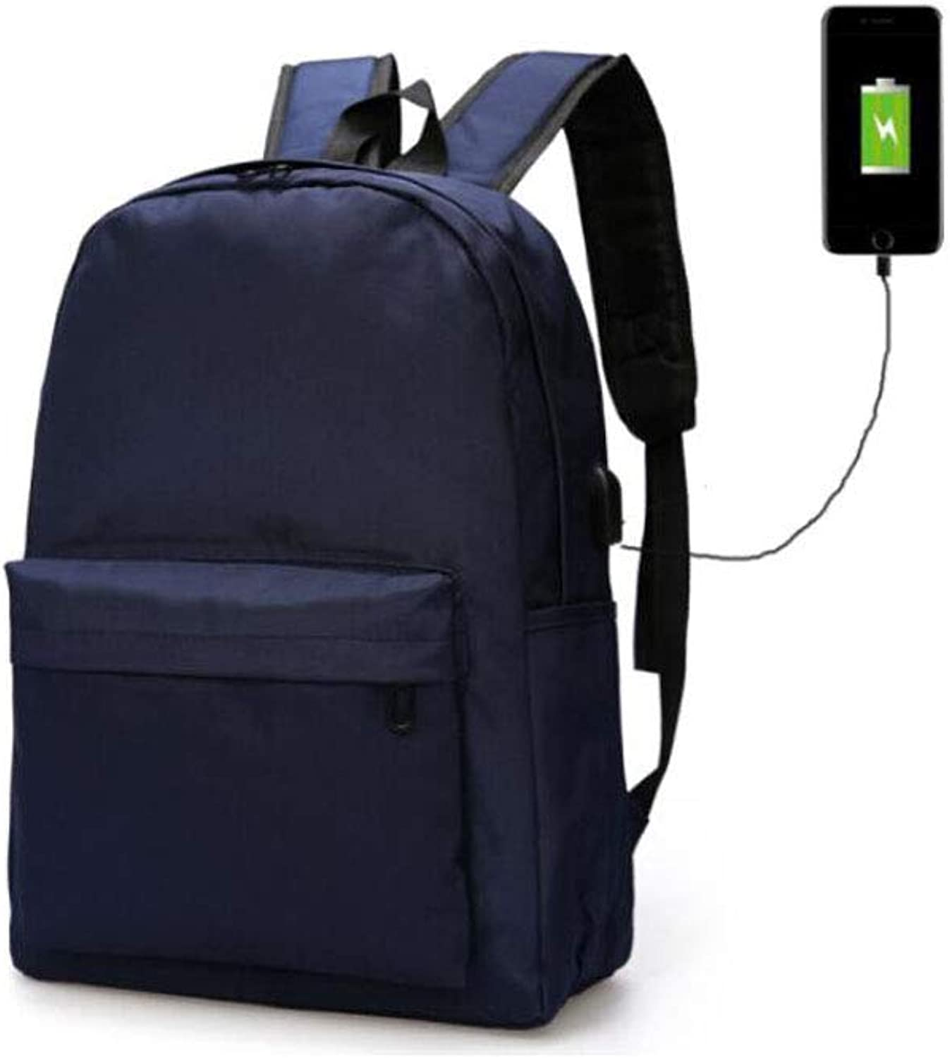Solid color Rucksack, Men's Special Classic Business Backpack, blueee 17.2  12.4  5.2 (inches)
