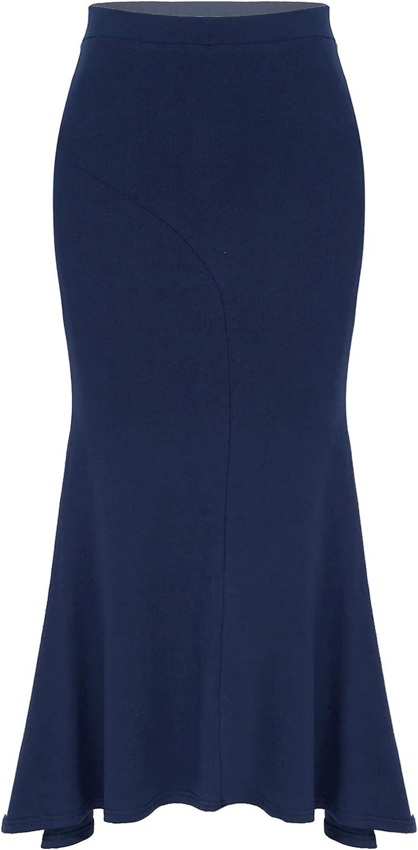 JEEYJOO Women's Midi Skirts High Waist Handkerchief Hemline Ruffle Back Slit Casual Skirt