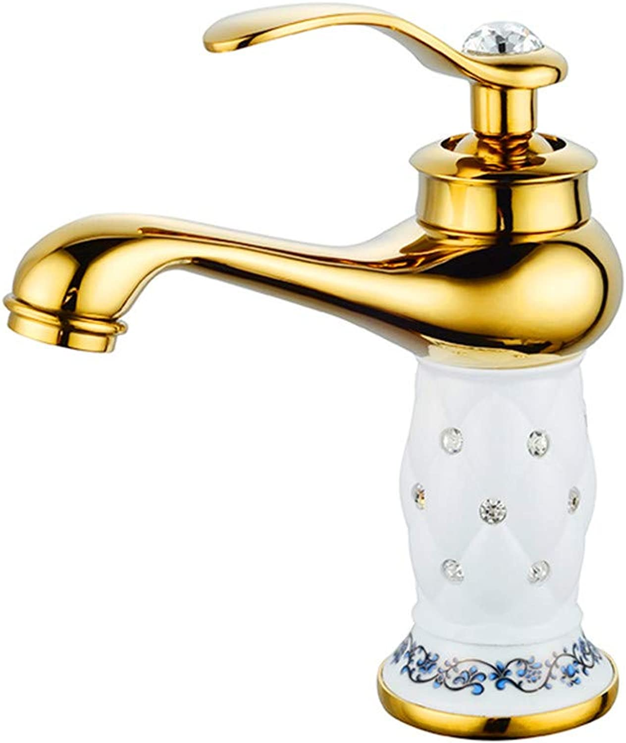 S-Senrohy Basin Faucets Luxury Euro gold With Diamond Brass Made Bathroom Faucet Mixer Tap DZLT-88881GW2